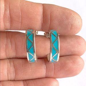 Jewelry - Southwestern Sterling Turquoise Hoop Earrings